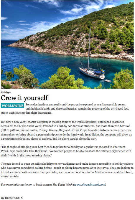 The Yacht Week in Condé Nast Traveler Online