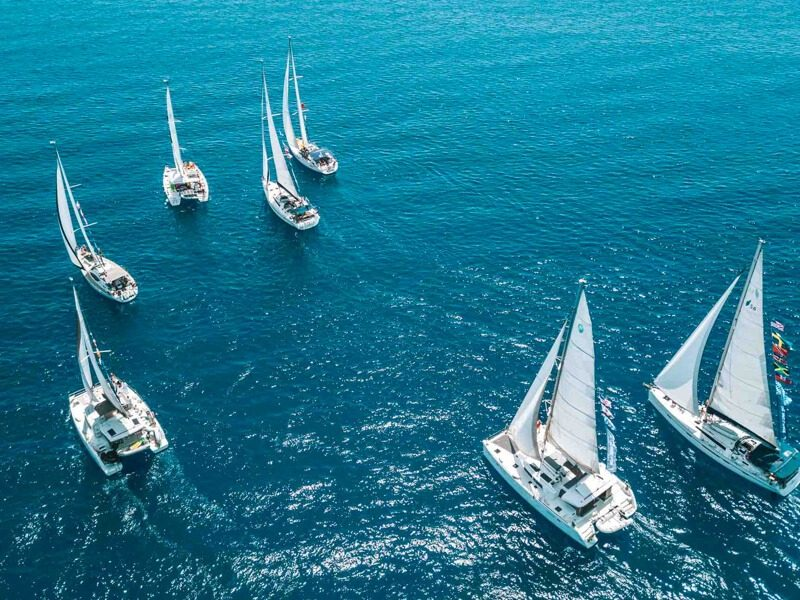 Group of yachts sailing at Athens, Greece on The Yacht Week