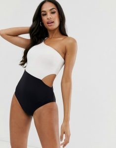 Swimwear trends 2020 Seafolly one-shoulder swimsuit in black and white colour block CREDIT ASOS