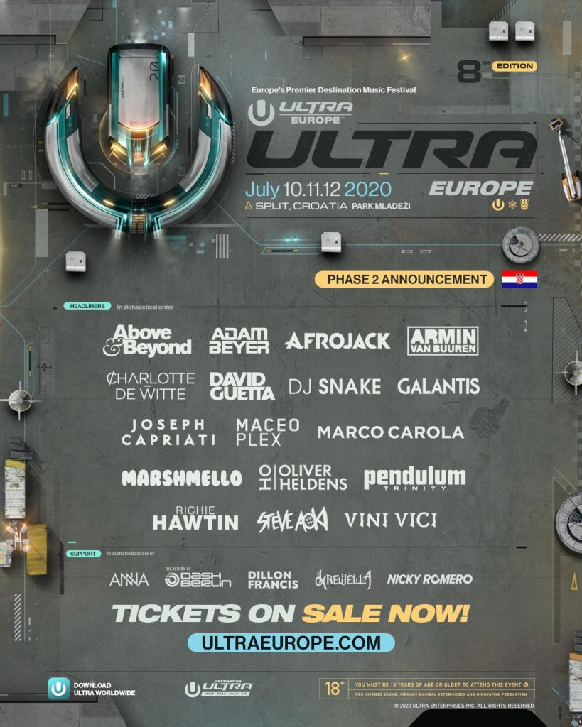 ULTRA Europe 2020 lineup phase 2 CREDIT ULTRA Europe